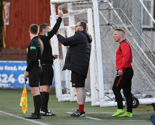 Albion Rovers striker David Cox left Ochilview at half time and has since announced his retirement from the game (Pic: Dave Johnston)