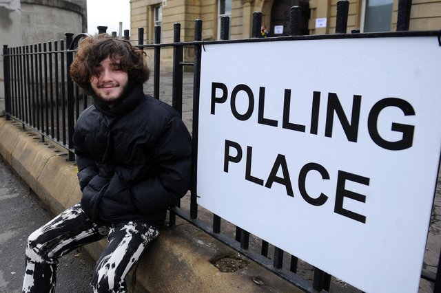 Forth Valley College sound production student Jack Finlay (17) cast his vote at Larbert's Dobbie Hall