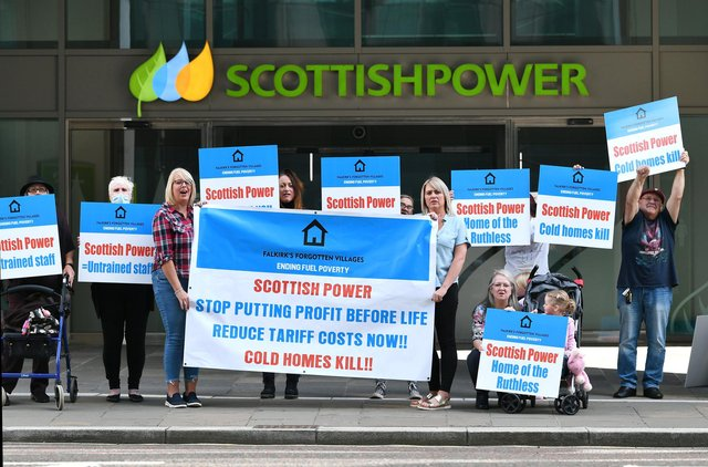 Members of Falkirk's Forgotten Villages - Ending Fuel Poverty campaign protest outside Scottish Power's HQ in Glasgow last year - there looks to be more protests on the way after a promised gas installation project failed to materialise