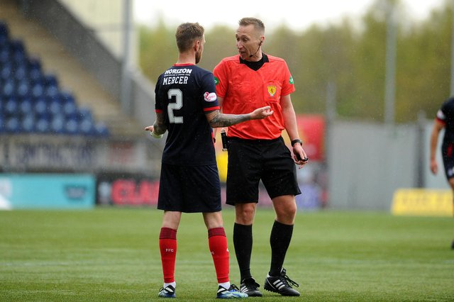 Falkirk fullback Scott Mercer questions the decision by referee Steven Kirkland to disallow Sean Kelly's 90th minute goal in their 2-1 defeat to Montrose last Saturday
