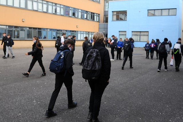 A fire broke out at Larbert High School on the same day pupils returned to full-time learning. Picture: Michael Gillen.