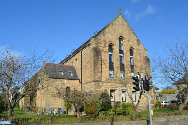 The former St Modans Church, now converted into flats.
