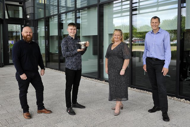 Chris Hall, Jane Hall andStuart Collings join George Hall Achievement Award winner 2021 Calum McKay at Ineos HQ