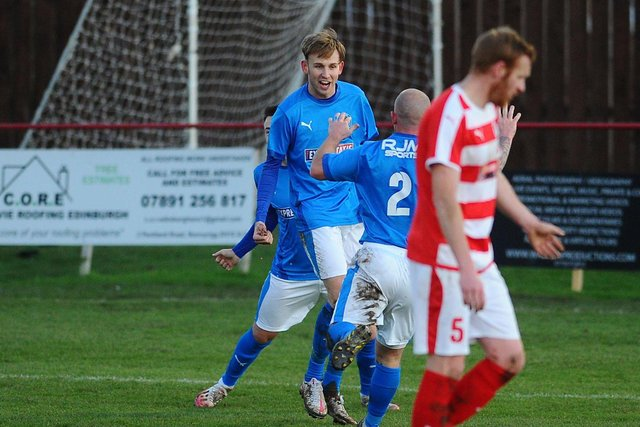 Zander Miller celebrates scoring a goal for Bo'ness United (Submitted pic)