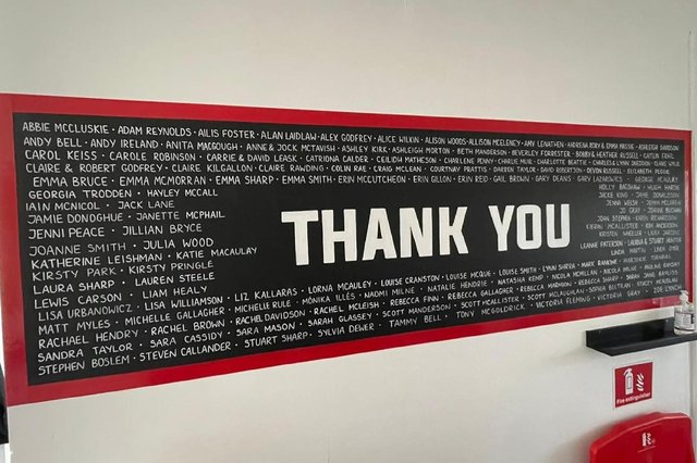 The Engine Room in Falkirk unveiled a mural dedicated to all the members and those who have helped the gym out amid the coronavirus pandemic. Picture: Mark Rankine.