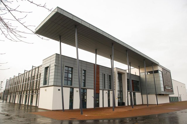 The intruder entered Grangemouth High School at lunchtime on Tuesday