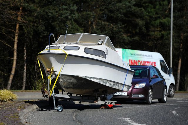 Falkirk's own blocked Suez Canal incident at Rosebank roundabout where a boat has run aground blocking a lane picture: Michael Gillen