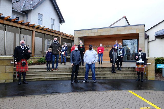 Barry Frame and the gang launch the Christmas single at Strathcarron Hospice