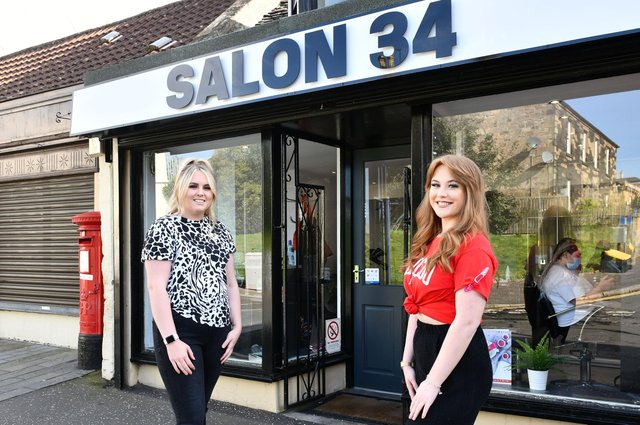 Kim Boath, manager of Salon 34 in Falkirk, andapprentice Shannyn Pepper. Picture: Michael Gillen.