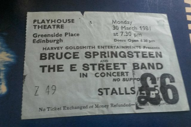 Bruce Springsteen - ticket stub from his 1981 River tour gigs at the Playhouse Theatre, Edinburgh