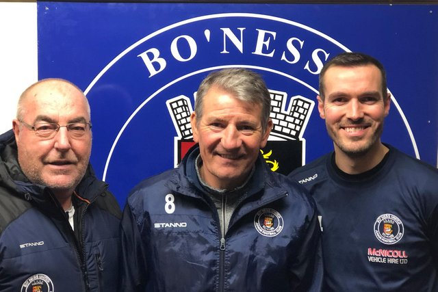 Bo'ness United Junior FC manager Willie Irvine (right) and his assistant Tam Beattie