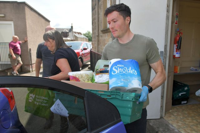 Stenhousemuir FC's Community Help Initiative volunteers have worked with the likes of Keeping Larbert and Stenhousemuir Beautiful Community Pantry to deliver free meals and vital supplies to those in need throughout the pandemic. Picture: Michael Gillen.