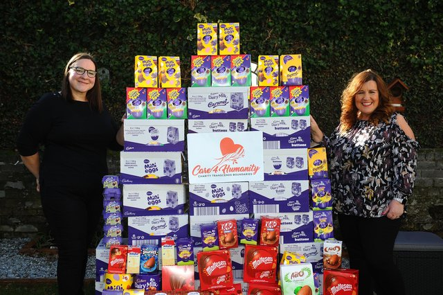 Kirsty Irvine Donaldson and Barbara Bryceland have collected 300 Easter eggs for children and £300 for Falkirk Foodbank. Picture: Michael Gillen.