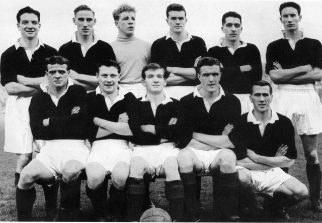 The Bairns in 1954.  Angus Plumb is front row left with Bert Ormand, Javo Davidson, Bob Morrison and Alex McRae.  Three of the future cup winners, Slater, Parker and Rae are in the back row.