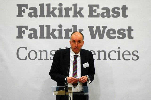 Kenneth Lawrie, constituency returning officer announcing a 62.23% turn out for Falkirk West (Pic: Michael Gillen)