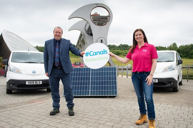 Transport Minister, Graeme Dey MSP, with Scottish Canals' CEO Catherine Topley while visiting The Falkirk Wheel as Scottish Canals announces plans to reach net zero by 2030. June 30, 2021 (Pic: James Chapelard)