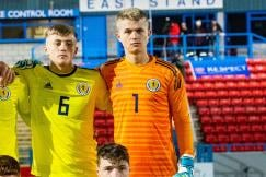 STIRLING, SCOTLAND - OCTOBER 28: Scotland Team Picture during the UEFA European Under 17 Championship between Scotland and Croatia and Forthbank Stadium, on October 28, 2019, in Stirling, Scotland. Back Row: Liam Morrison, Dane Murray, Michael Mellon, Calvin Ramsay, Jayden Fairley and Jay Hogarth. Front Row: Chris Mochrie, Regan Thomson, Adam Devine, Leon Watson and Leon King.  (Photo by Gary Hutchison / SNS Group/SFA)