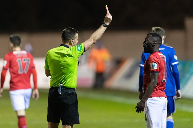 Morgaro Gomis is sent off in the second half after reviving a second yellow card for simulation (Pics: Ian Sneddon)