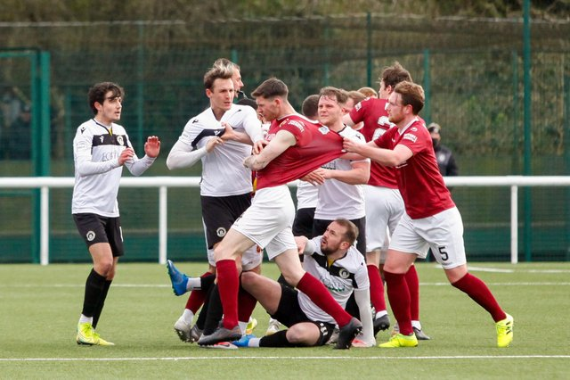 Creag Little was sent off in the game against Edinburgh City after a brawl broke out amongst the two sets of players at the end