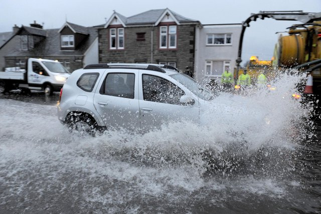 The flood protection scheme will hopefully precent scenes like this in Glensburgh Road, Grangemouth