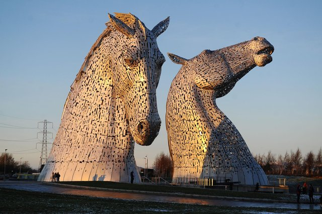 Police are investigating reports of a man climbing the Kelpies